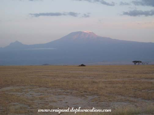 Mt. Kilimanjaro from the dry bed of Lake Amboseli