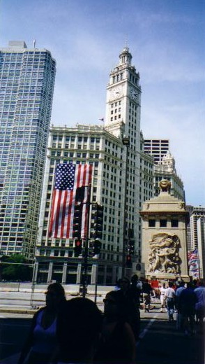 Wrigley Building dressed up for July 4